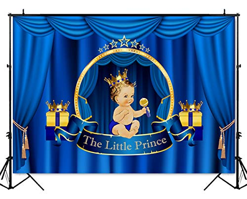 Mehofoto Royal Prince Baby Shower Backdrop Blue Curtain Crown Photography Background 7x5ft Vinyl Little Prince Great Gift Baby Shower Banner Backdrops
