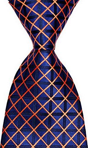 Tie And Blue Orange (New Classic Checks Blue Orange JACQUARD WOVEN Silk Men's Tie Necktie)