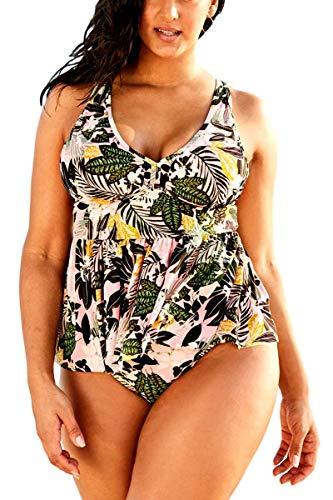 (FlatterMe Women's Bathing Suit Plus Size Cross Back Halter Tankini Set 2 Piece Swimsuit(A18095,Printing,XXL))