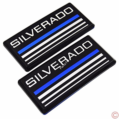 2x PartsTo Blue Line Cab Emblem Badge Side Roof Pillar Decal Plate for Chevy Silverado 88-98 90 91 Suburban Tahoe C/K Series ()