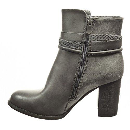 Angkorly - Chaussure Mode Bottine low boots femme lanière boucle Talon haut bloc 8 CM - Intérieur Fourrée - Gris