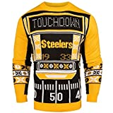 FOCO NFL Pittsburgh Steelers Ugly Light Up Crew Neck Sweater, Team Color, Small