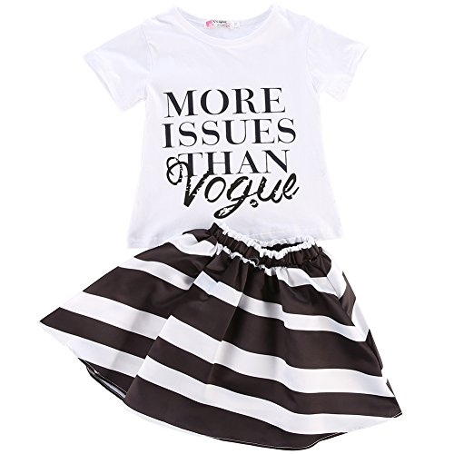 Children Baby Girls T-shirt Tops Striped Skirts Outfits Set Party Dress