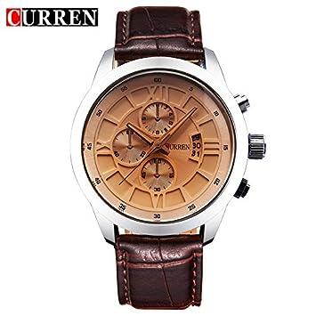 SPORTWATCHES Relojes Hermosos, Reloj de Moda Impermeable Reloj Calendario de Hombres cinturón Tres Ojos Falsos