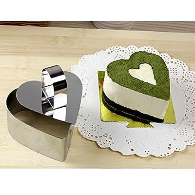 FUBARBAR 3 X 2 Inch Round Square Heart Flower Cake Stainless Steel Mini Cake ...
