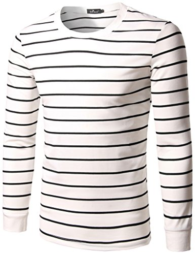 Whatlees Mens Casual White-Black Strips Crew Neck Slim Fit Pullover Underwear Shirts Sweatshirts B373-M