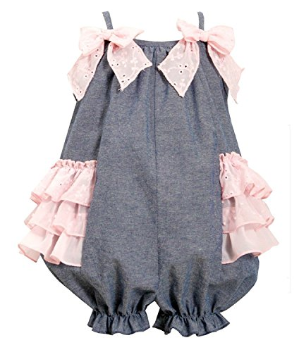 Bonnie Jean Baby-Girls Chambray Pink Eyelet Sunsuit (24 months)