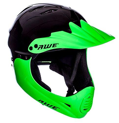 AWE FREE 5 YEAR CRASH REPLACEMENT Full Face Helmet Black Green Large
