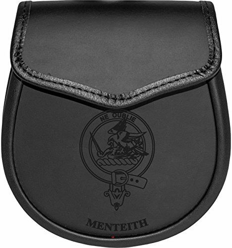 Menteith Leather Day Sporran Scottish Clan Crest