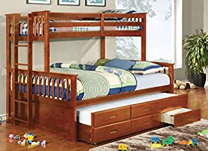 Furniture of America Pammy Twin over Queen Bunk Bed, Oak