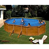 Gre KITPROV503W Framed pool Oval 14550L Blue,Wood above ground pool - above ground pools (Framed pool, Oval, 14550 L, Blue, Wood, Wood, EN16582, EN16713)