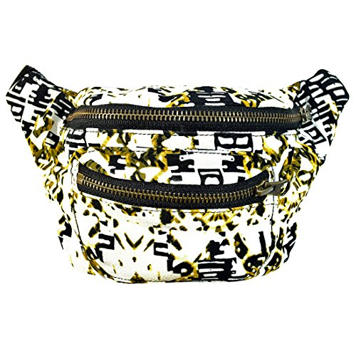 Native Tribal Party Fanny Pack, Stylish Party Boho Chic Handmade w/ Hidden Pocket by Santa Playa (Inca Gold)