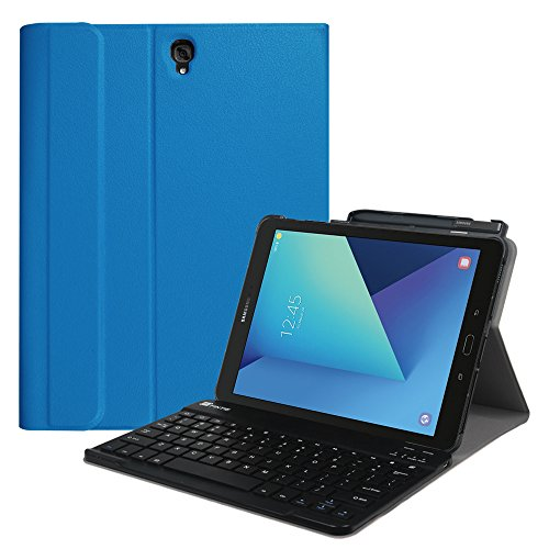 Fintie Keyboard Case for Samsung Galaxy Tab S3 9.7, Smart Slim Shell Stand Cover with S Pen Protective Holder Detachable Wireless Bluetooth Keyboard for Tab S3 9.7 2017 (SM-T820/T825/T827), Blue