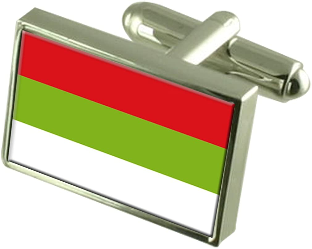 Ipiales City Colombia Flag Cufflinks Engraved Box
