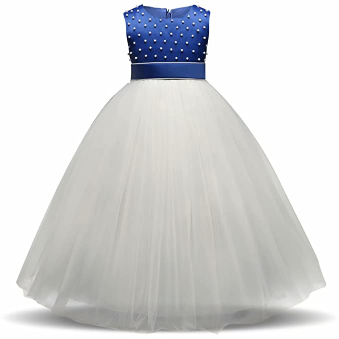 Amazon.com: AYOMIS Girl Dress Princess Gowns Bow Party Wedding Floor ...