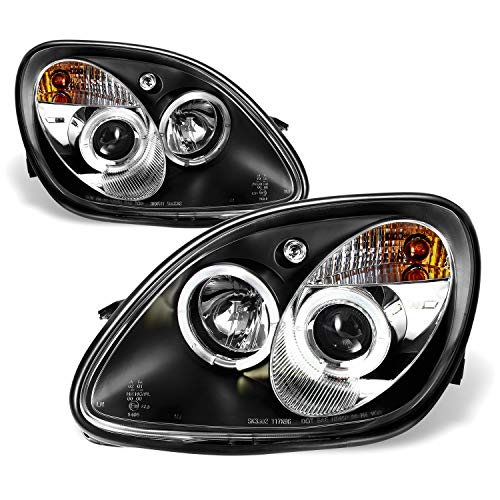 Fits 1998-2004 Mercedes Benz R170 SLK-Class Black Bezel 1 Piece Halo Projector Headlights w/Corner Signal Lamps (Headlights 1 Piece Crystal)