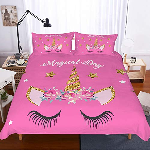 (APJJQ Unicorn Duvet Cover Set Twin Size,Floral Feather Eyelashes Unicorn Head with Twikkle Gold Stars Horn Pink 2 Piece with 1 Pillow Sham Kids Bedding Set for Boys,Girls and Teens)