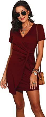 O.Mergin Women's Summer Short Sleeve Ruched Stretchy Deep V-Neck Bodycon Mini T-Shirt Slim Dress