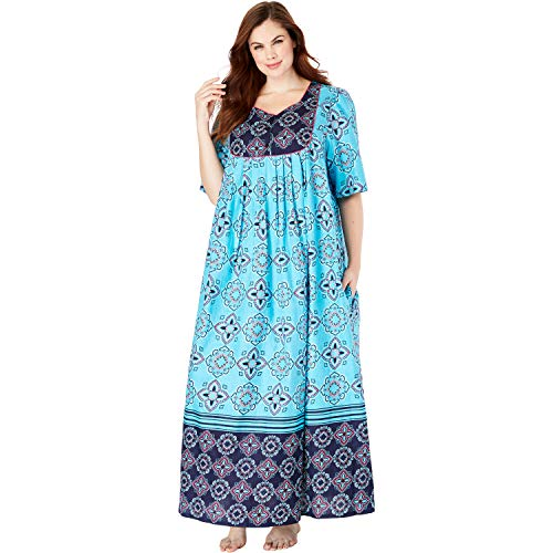 (Only Necessities Women's Plus Size Mixed Print Long Lounger - Bright Aqua Medallion, 1X)