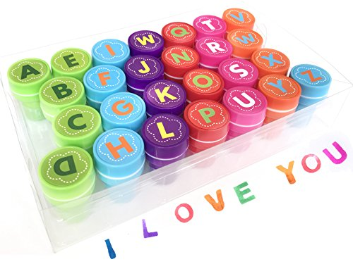 26 Pieces Alphabet Fun Stamps for Kids,Self-Ink Washable Stampers Set for Children Party Favor,School Prizes,Birthday Gift,Learn Props -