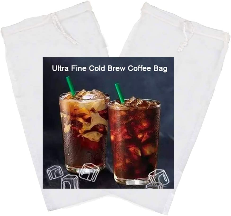 Tinnkee 2 Pack Cold Brew Coffee Bag,120 Micro Food Grade Nylon Ultra Fine Mesh, 8.6x5 inch Reusable Cold Brew Coffee Filter with Seamless Bottom, Coffee Maker
