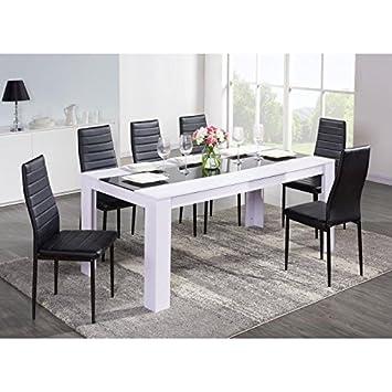 DAMIA Table a manger 180x75 cm - Blanc et noir: Amazon.fr: Cuisine ...