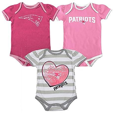 6b5a45c80 New England Patriots Girls Pink 3pc Creeper  quot Field Goal quot  Bodysuit  Infant ...