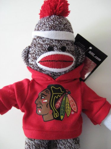 CHICAGO BLACKHAWKS SOCK MONKEY (10 INCHES TALL)