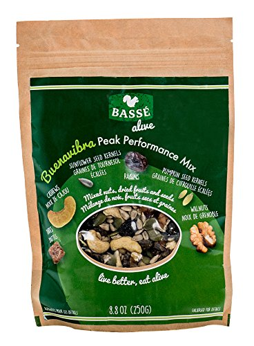 Trail Mix from Basse Alive, Buenavibra Peak Performance Mix, 8.8oz Trail Mix Bag with Dried Fruit and Nuts, Including Dates, Cashews, Raisins, Raw Walnuts, Raw Cashews, Sunflower Seeds & Pumpkin Seeds