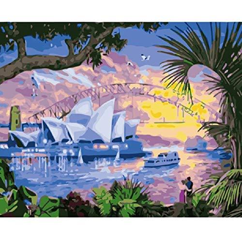 (Adult Jigsaw Puzzle 1000 Pieces Wood Puzzles Sydney Opera House Bridge Sailboat Landscape Picture Living Room Game Toy Home Decoration Art)