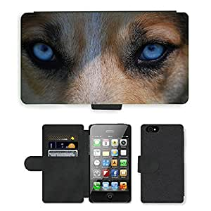 Hot Style Cell Phone Card Slot PU Leather Wallet Case // M00109312 Eyes Animal Nature Dog Blue Danger // Apple iPhone 4 4S 4G