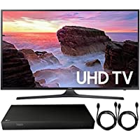 Samsung UN55MU6300 55 4K Ultra HD Smart LED TV (2017 Model) + 4K Ultra-HD Blu-Ray Player w/ 3D Capability + 2x 6ft High Speed HDMI Cable