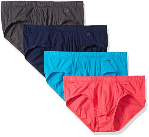 2(X)IST Men's Essential Comfort Cotton Bikini Brief Multipack, Varsity Navy/Charcoal/Azalea/Barrier Reef, Medium