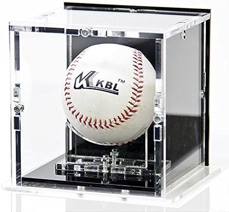 Vitrine de balle de baseball avec base noir et panneau d/'arri/ère noir