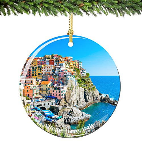 City-Souvenirs Cinque Terre Italy Christmas Ornament, Porcelain 2.75 Inch Italian Christmas Ornaments