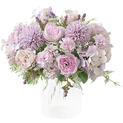 KIRIFLY Ramo de Flores Artificiales de Seda de peonia Falsa, decoracion de Flores de plastico con claveles realistas para decoracion de Bodas, centros de Mesa, 2 Paquetes