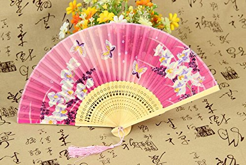 Party Favors - Chinese Japan Silk Dance Folding Fan Hand Fans Scape Flowers Landscape Bamboo Butterfly Cherry Party - Sanitizer Party Fold Hockey Young Stampers Bamboo Airplanes Adult Sti ()