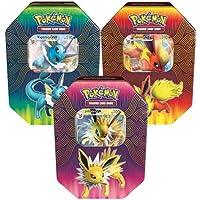 Pokémon 82527 Elemental Power Tins-Set of 3 Vaporeon, Joteon & Flareon-GX