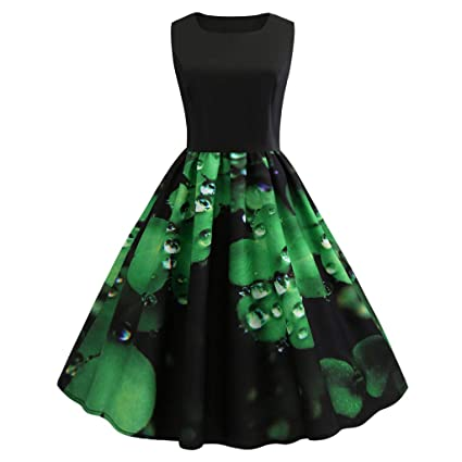 0fd37c9f4ecb Image Unavailable. Image not available for. Color: Fiaya Women's  Newfashioned Sleeveless Vintage Clover Print Green Pleated ...