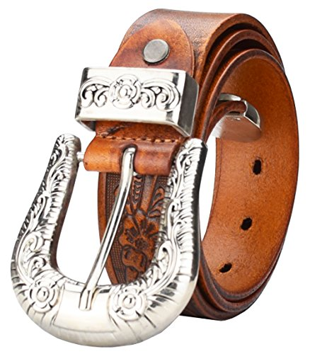 Ken Onion Sheaths - QISHI YUHUA PD Men's Carved Belt Light Tan Luxury Quality Leather Belt