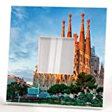 Sagrada Familia Barcelona Wall Printed Framed Mirror with Catalonia Gaudi Fan Art Home Decor Gift