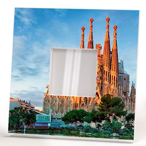 Sagrada Familia Barcelona Wall Printed Framed Mirror with Catalonia Gaudi Fan Art Home Decor Gift by WonderCloud