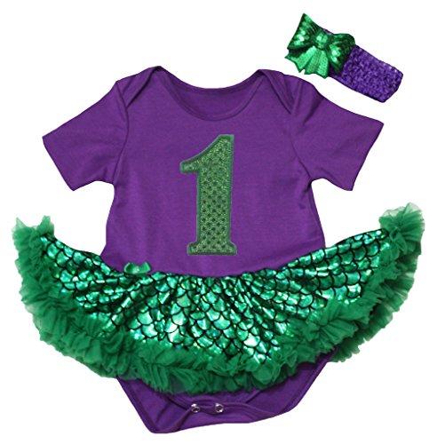 Price comparison product image Petitebella Sequins 1st Purple Bodysuit Green Scale Mermaid Tutu Nb-18m (6-12 Months)