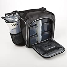 Fit and Fresh Jaxx FitPak with Portion Control Container Set and Shaker Cup, Silver by Fit & Fresh
