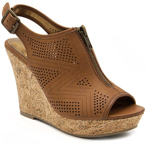 Sugar Women's Caty Fashion Slingback Peep Toe Cork Wedge Sandals with Perferated Design Zipper and Buckle 9 Dark Natural ()