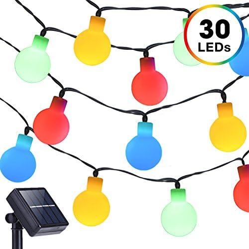 Solar Powered String Lights, DecorNova 13 Feet 30 LED Waterproof Globe String Lights for Christmas Patio Garden Outdoor Holidays Parties, Multi Color