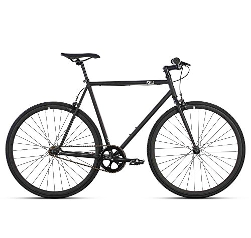 6KU Nebula 1 Fixed Gear Bicycle, Matte Black/Black, 58cm