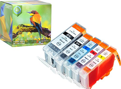 Ink Hero 5 Pack Cartridges for CLI-8 PGI-5 PIXMA iP4200 iP4300 iP4500 iP5200 iP5200R MP500 MP530 MP600 MP610 MP800 MP800R MP810 MP830 MP950 MP960 MP970 MX850 Printer Inks for Inkjet