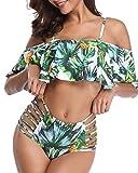 Tempt Me Women Two Pieces Flounce Off Shoulder Tropical Printed Bikini Set Swimsuits White L