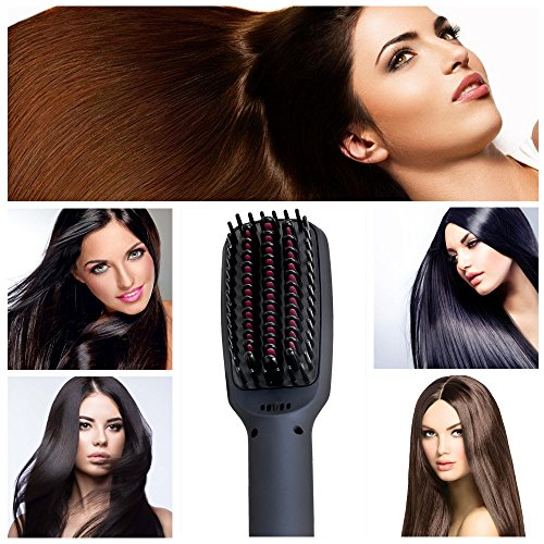 Hair Straightener Brush CNXUS MCH Ceramic Heating Hair Straightening Ionic Brush Frizz Free Hair Care For Silky Straight Hair Styling LCD Display Adjustable Temperature Anti Scald Portable